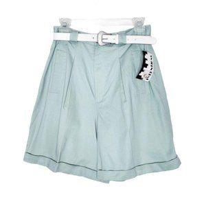 Vintage High Rise Pleated Mint Green Shorts 12